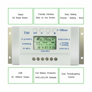 40A Solar Regulator LCD Display 12V/24V for Solar System T40 pictures & photos