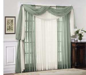 Solid Sheer Voile Collection (HRVP001) Home Curtain and Panel pictures & photos