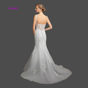 Spaghetti Strap Trumpet Wedding Dress with Sexy Open Back pictures & photos