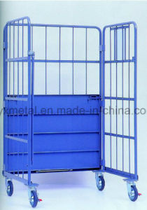 Huge Three Sides Powder Coated Folding Wire Roll Container pictures & photos