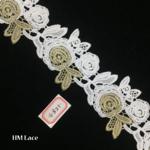 6.5cm Gold Floral Tulle Lace Fabric Trimming, Vintage Flower Embroidery Lace Veilling, Costume, Craft Making Hme821 pictures & photos