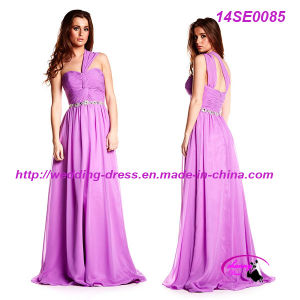 Full Length Purple Light Chiffon Celebrate Dress with Zipper Back pictures & photos