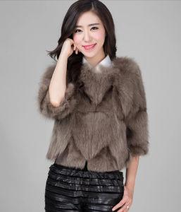 Women′s 100% Fox Fur Short Coat Gradient Color