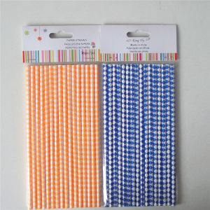 Harlequin Diamond Orange Blue Color 100% Eco-Friendly Paper Straws pictures & photos