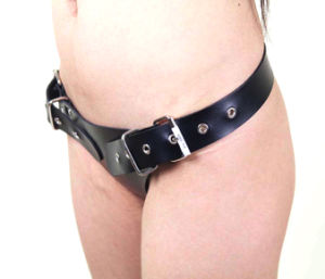 Popular T Type Leather Male Chastity Belt Adjustable Rivet Chastity Device Men Chastity Belt pictures & photos