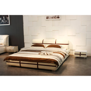 Coffee Bedroom Furniture, Canton Fair Modern Leather Bed (9129) pictures & photos