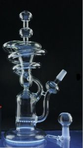 Clear Spiral Tall Recycler Rig Glass Smoking Water Pipe (ES-GB-537) pictures & photos