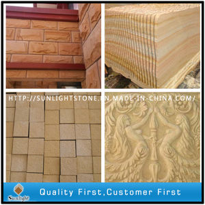 Bush Hammered/ Honed Yellow Sand Stone for Tiles pictures & photos