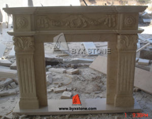 Beige Stone Carving Indoor Marble Fireplace Surround/Mantel pictures & photos