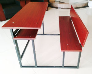Metal Frame Double Seat School Desk and Chair pictures & photos