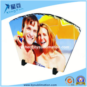 Fan-Shape Sublimation Rock Slate with Stand pictures & photos