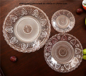 3 PC Embossment Glass Plate Set Transparency pictures & photos