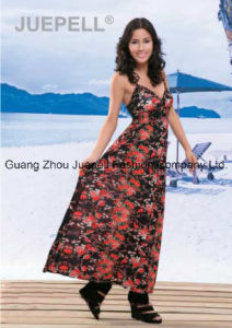 Ladies Knit Floral Print Cami Maxi Dress pictures & photos