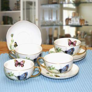 12PCS 200CC Cup and Saucer Thin Porcelain