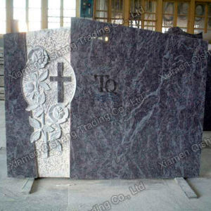 Carved Cross or Flower Blue Granite Monument