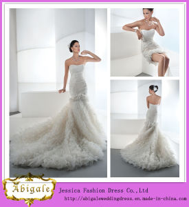 Newest Fashion Sheath Top Organza Ruffled Detachable Skirt Wedding Dresses 2014 (WD39) pictures & photos
