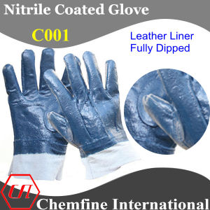 Leather Glove with Nitrile Full Coating (C001) pictures & photos