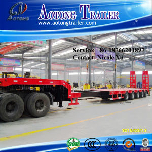 Tri Axles 50-80 Tons Step Wise Low Flat Bed Semi Trailer pictures & photos