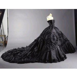 Sext Strapless Black Taffeta Cathedral Wedding Dress Bridal Gown (W189) pictures & photos