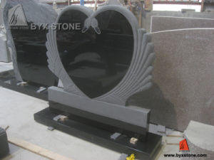 Black Granite Carving Monument with Double Swan Headstone pictures & photos