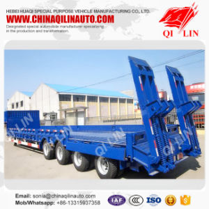 Tri-Axle Hydraulic Low Bed Truck Trailer 60t Low Bed Semi Trailer pictures & photos