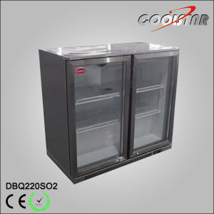 Double Open Doors Stainless Steel Beverage Bottle Display Refrigerator pictures & photos