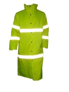 Reflective Long Safety Overcoat with Flu Yellow pictures & photos