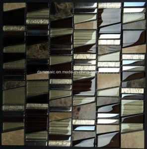 Luxuary Trapezoid Glass and Natural Stone Mosaic Tile pictures & photos