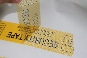 Customized 25 Micron Yellow Total Transfer High Residue Security Tape