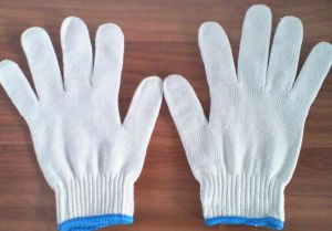 High Quality Blue Edge Unbleached White Knitted Gloves pictures & photos
