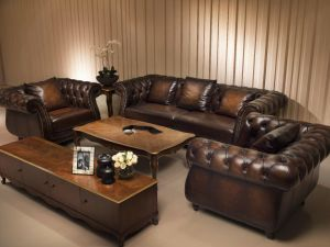 Top Quality Brown Color Vintage Chesterfield Luxury Leather Sofa Furniture pictures & photos