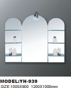 Furniture Glass Mirror with Shelf with Lamp pictures & photos