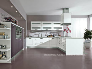 Elegent Color PVC Membrane Vinyl Wrapped Kitchen Cupboards pictures & photos
