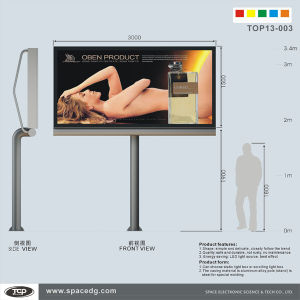 Single Side Scrolling Pole Supported Lightbox with Tempered Glass pictures & photos
