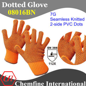 7g Orange Polyester/Cotton Knitted Glove with 2-Side Black PVC Dots/ En388: 112X pictures & photos