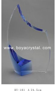 Simple Shape Blue Crystal Trophy with Customized Logo Sandblast (BY181)