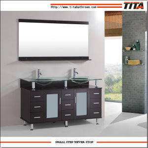2016 Glass Modern Expresso Solid Wood Bathroom Vanity/Double Basin Bathroom Cabinet/Furniture Bathroom Furniture High Cabinet (T9097) pictures & photos
