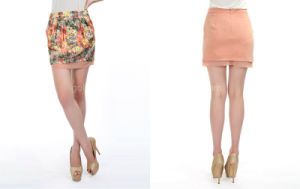 2015 Popular Flower Printed Ladies Fashion Short Skirt (60615203000)