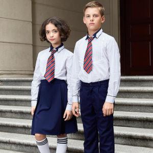 New Design Unisex Summer Long Sleeve School Uniform White Shirts pictures & photos