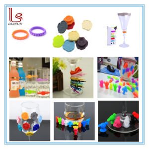 Cheap Promotional Drinking Silicone Suction Cup Marker Wine Glass Charm pictures & photos