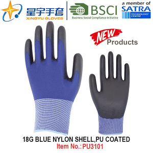 18g Blue Nylon Shell PU Coated Gloves (PU3101) with CE, En388, En420, Work Gloves pictures & photos