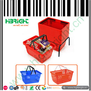 Red Color Double Handle Shopping Basket 28L with Basket Holder pictures & photos