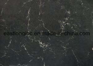 China Wholesale Double Color Quartz Stone, Dark Emperador Marble Look Artificial Quartz Stone Slab pictures & photos