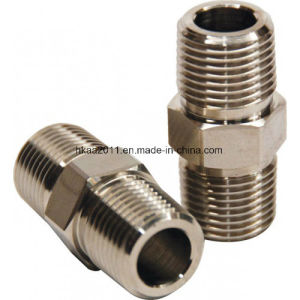 CNC Machined Stainless Steel Male Thread Hex Nipple pictures & photos