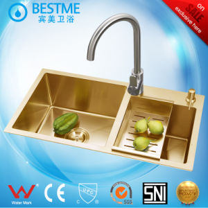 Gold Color Double Bowl Home Choice Luxury Kitchen Sink pictures & photos