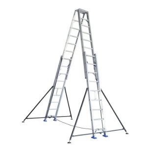 4m Aluminum Alloy Double-Side Grooved Rails Extension Ladder pictures & photos