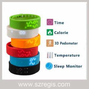 LED Screen 3D Stereo Silicone Sleep Monitor Sports Smart Bracelet pictures & photos