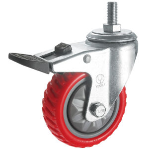 Medium Duty Antiskid PU Caster Wheel (Red) (Y3208) pictures & photos