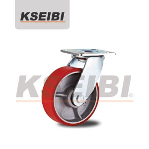Heavy Duty Kseibi PU Cast Iron Swivel Plate Caster pictures & photos