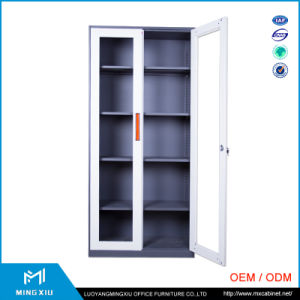 Mingxiu Office Furniture 2 Door Lightweight Steel Filing Cabinets / Glass Door Cabinet pictures & photos